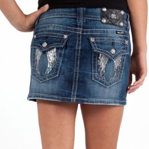 Miss Me Wings Stretch Denim Skirt - Size 26